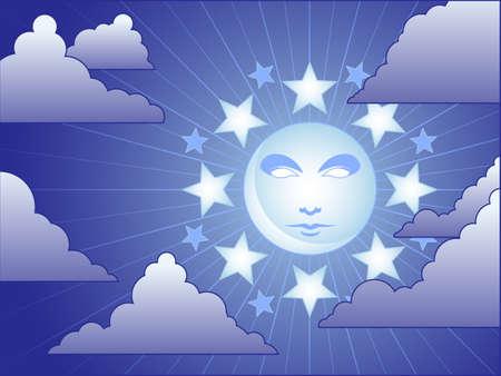 달빛의 하늘 일러스트