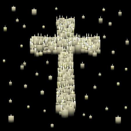 vigil: Candle cross Illustration