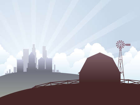 windmills: Country and city Illustration