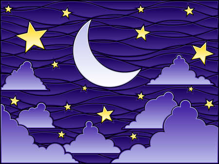 Stained glass night Vector