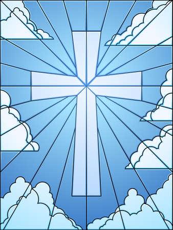 kruzifix: Stained Glass cross in Himmel