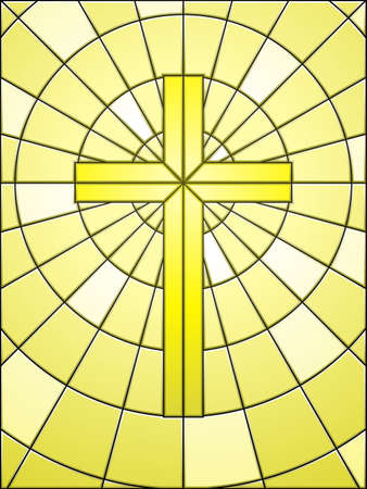 christian symbol: Stained glass cross on gold Illustration