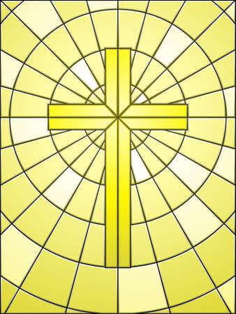 simbolos religiosos: Vidrieras cruzar en oro