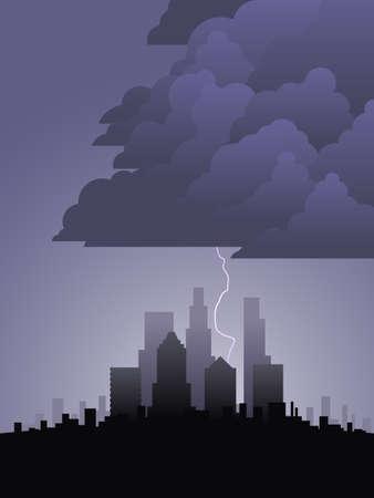 Lightning in the city Ilustracja