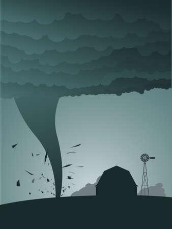 granero: Tornado en el pa�s  Vectores