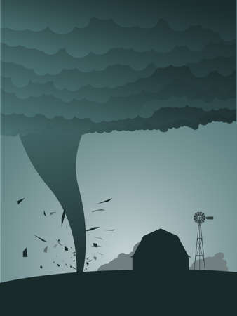 whirlwind: Tornado in the country Illustration