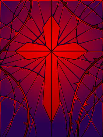 Stained glass gothic cross Vector