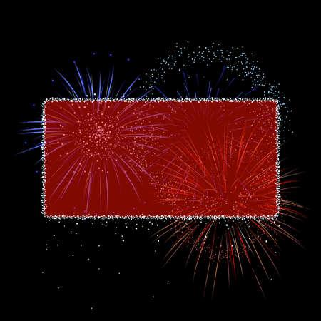 Red fireworks banner Vector