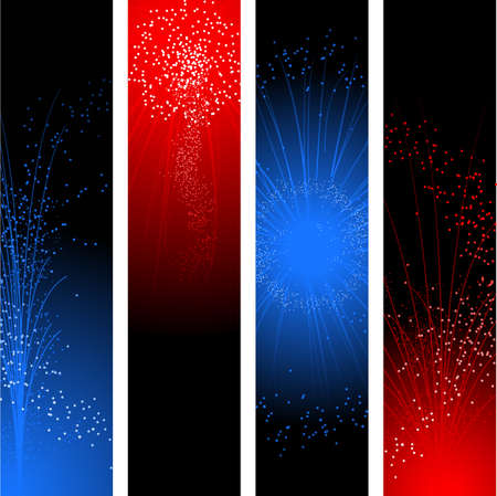 firework display: Fourth of July banners