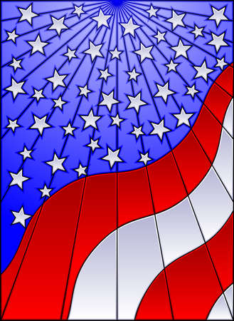 Stained glass US flag Stock Vector - 6790376