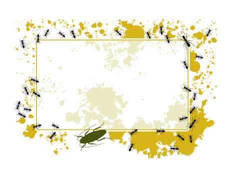 Ants and splatter frame Stock Vector - 6790382