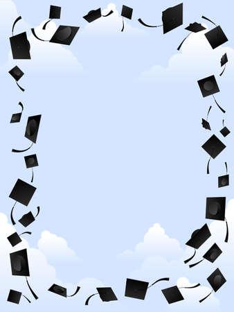 gorros de graduacion: Marco mortarboard Vectores
