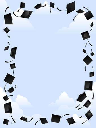 graduation background: Mortarboard frame
