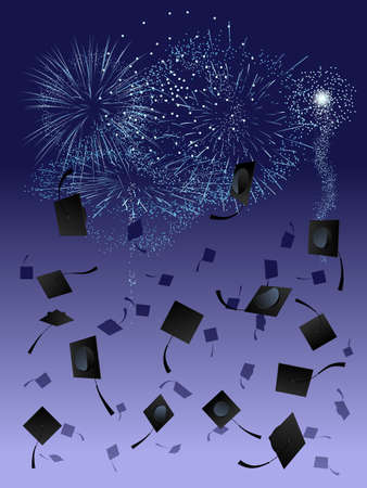 high: Fireworks at graduation Illustration