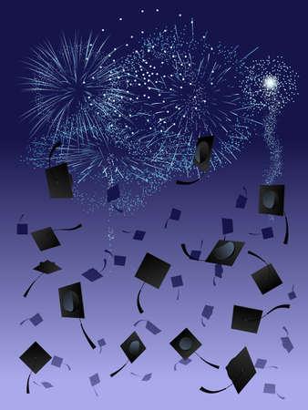 Fuegos artificiales durante graduación