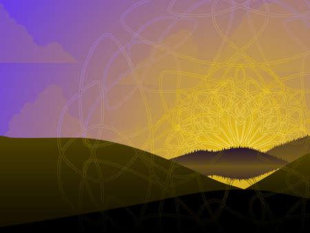 Patterned sunrise Vector