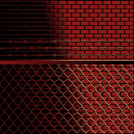 barbed wire and fence: Bricks and fence background Illustration