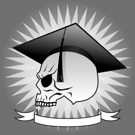danger: Graduate skull profile Illustration