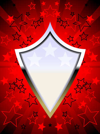 Patriotic chrome shield red Stock Vector - 6981926