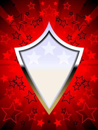 Pattic chrome shield red Stock Vector - 6981926