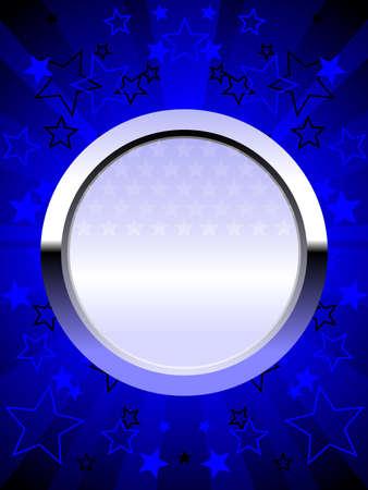 Patriotic chrome shield blue