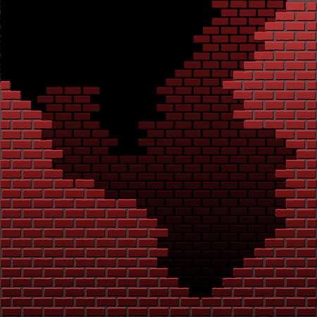 crumbling: Crumbling brick wall