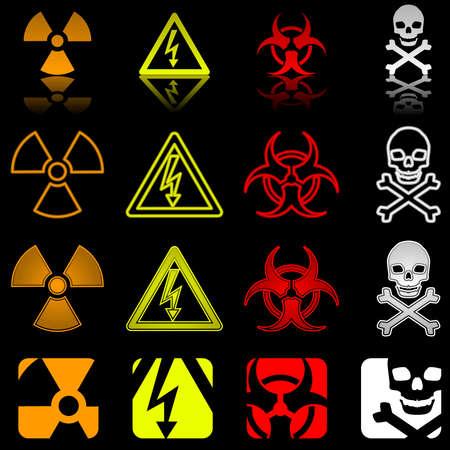 Quattro icone di pericolo in vari stili  Archivio Fotografico - 6981962