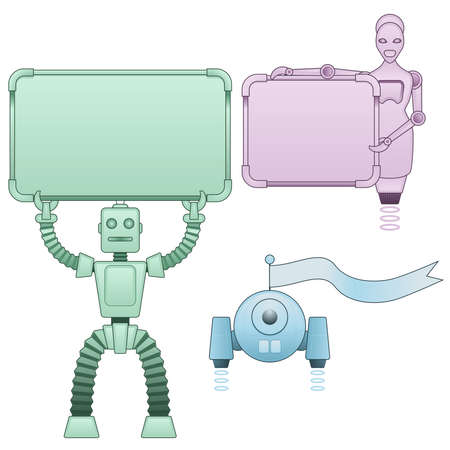 Robots holding signs Vector