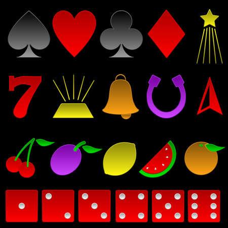 Beveled gambling symbols Vector
