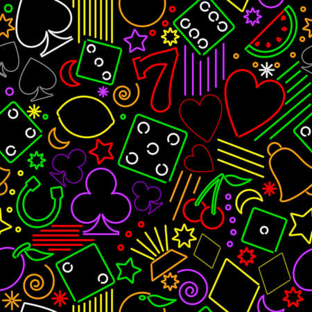 Seamless neon gambling background