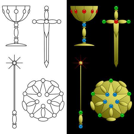 pentacle: Tarocchi carta di simboli  Vettoriali