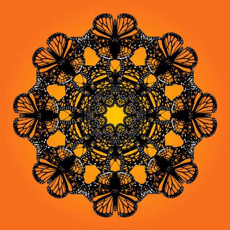 swarm: kaleidoscope butterfly background Illustration