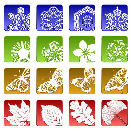 16 の季節アイコン  イラスト・ベクター素材