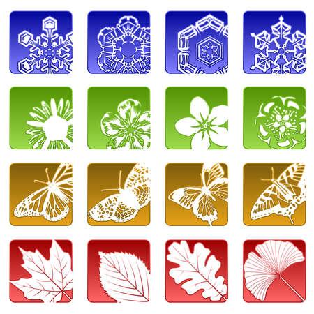 Dieciséis de iconos de temporada  Foto de archivo - 7232322