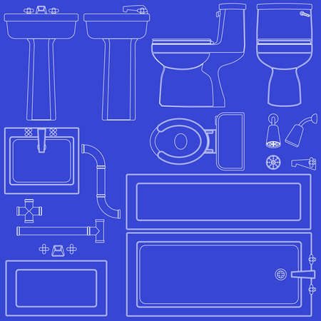 Blueprint bathroom fixtures Stock Vector - 7232320