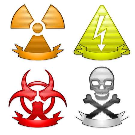 poison sign: Hazard icons with banners