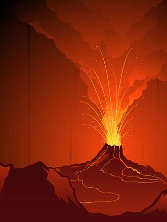uitbarsting: Uitbarstende vulkaan  Stock Illustratie
