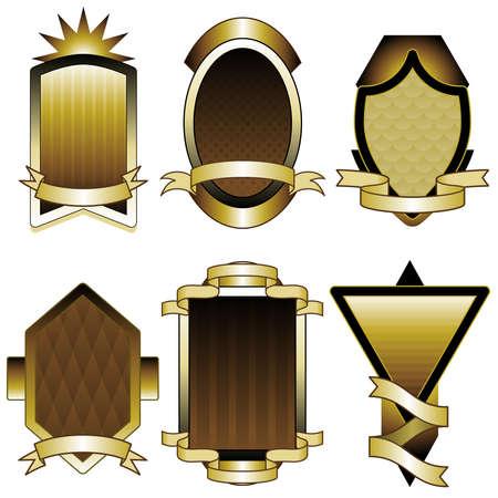 Set of gold foil frames or labels Ilustrace