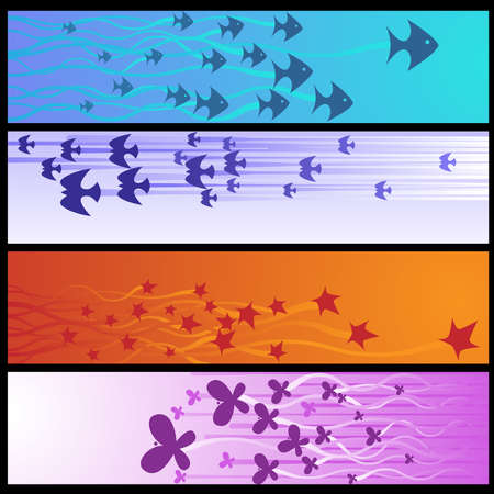 Horizontal nature banners Vector