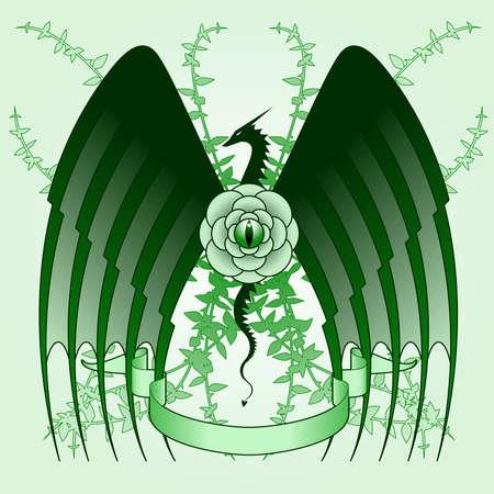 dragon: Dragon rose tattoo Illustration