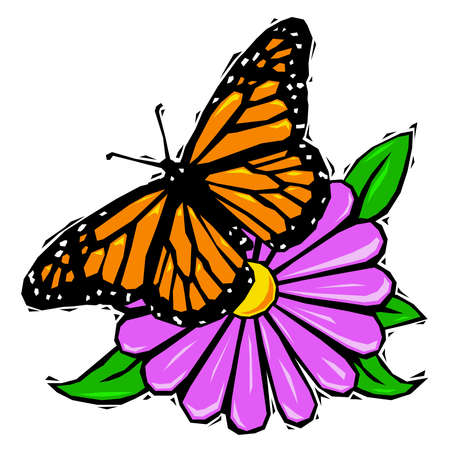daisy pink: Woodcut butterfly on flower