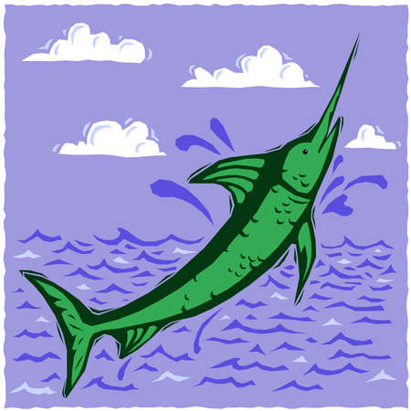breach: Woodcut swordfish
