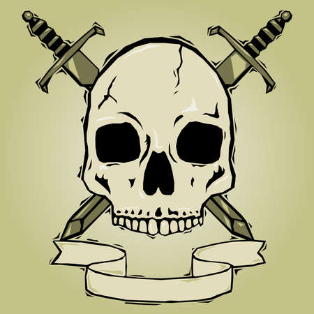 Skull with swords woodcut Stock Vector - 7429345