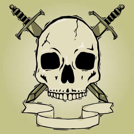 Skull with swords woodcut Stock Vector - 7429345