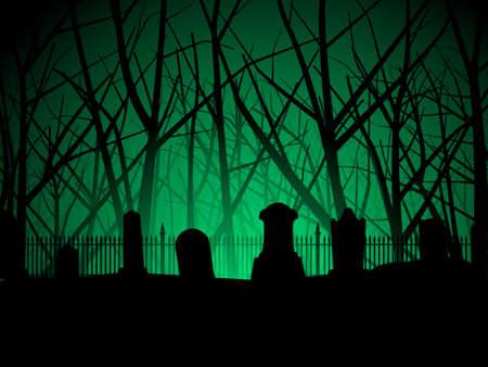 tombes: Arri�re-plan de cimeti�re et arbres  Illustration