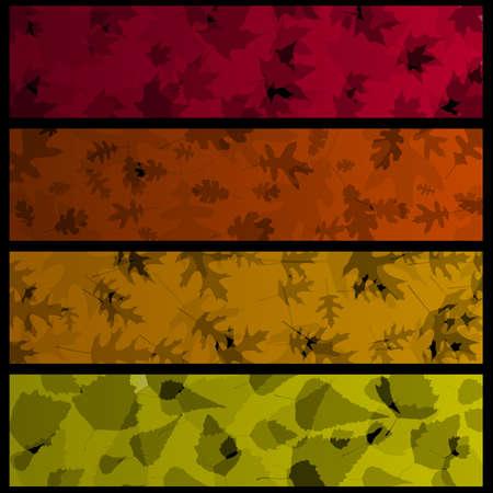 horizontal: Four horizontal autumn banners