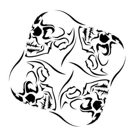 Pinwheel schedel tattoo design