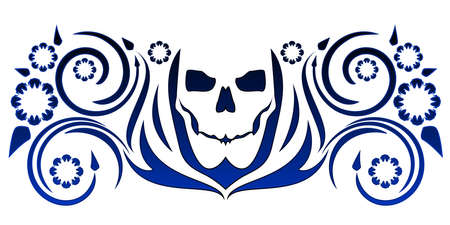 Skull with flourishes Vectores