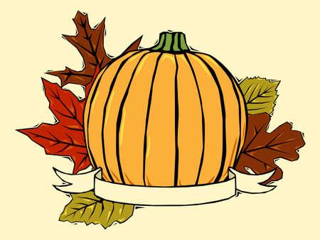 かぼちゃと秋の葉