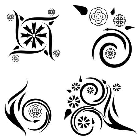 Four floral tattoo designs Stock Vector - 7539659